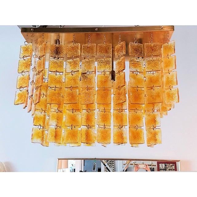 Gaetano Sciolari Mid Century Modern Honey/Brass Murano Glass Flush Mount Light by Sciolari For Sale - Image 4 of 6