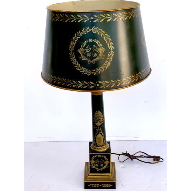 Brass Empire Style Tole Lamps - a Pair For Sale - Image 8 of 11