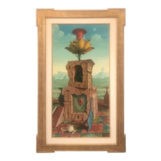 Large Oil on Canvas Surrealist Painting Artist Signed, 1977 For Sale
