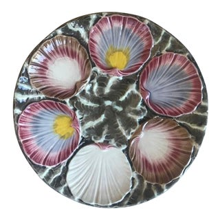 Antique English Hand Painted Majolica Oyster / Seafood Plate For Sale