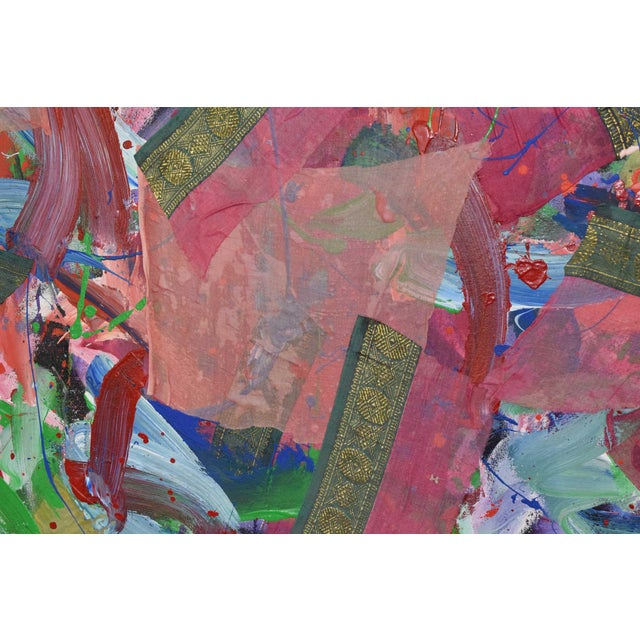 1980s Joseph M. Glasco Oil and Collage on Canvas, #34, Dated 1985 For Sale - Image 5 of 13