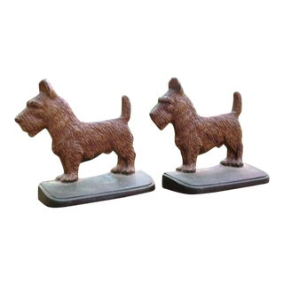 Cast Iron Scottie Dog Bookends - A Pair For Sale