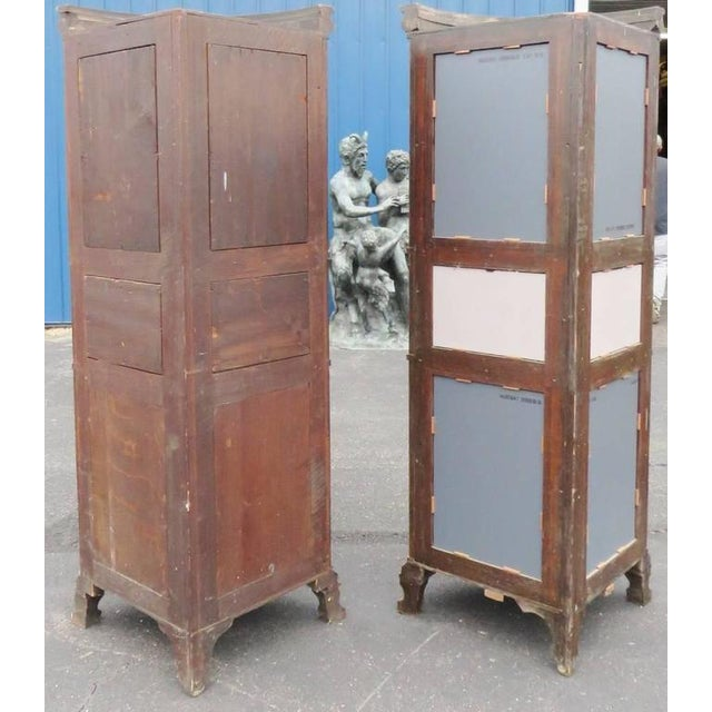 Glass Rare Companion Pair of Oak Carved Corner Cabinets For Sale - Image 7 of 8