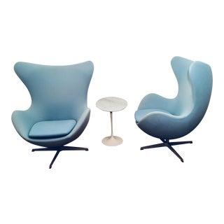 Modern Arne Jacobsen for Fritz Hansen Egg Chairs- Pair For Sale