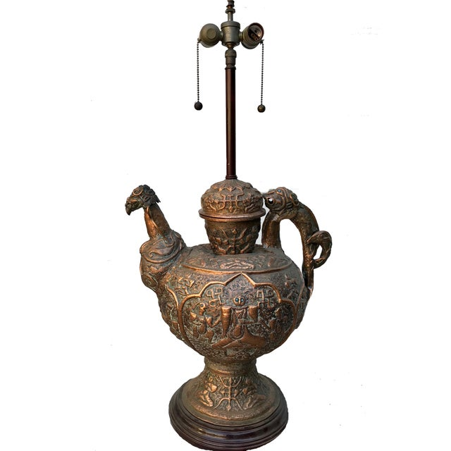 Incredible Grand Antique Tibetan Repousse Copper Wine Vessel Lamp with Inlaid Turquoise. Museum quality copper...