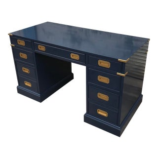 Vintage Campaign Newly Lacquered Partner Desk For Sale