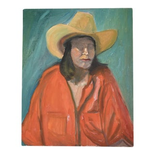 Figural Portrait of Woman in Red Top and Cowboy Hat Blue Background Original Oil Painting Unframed For Sale