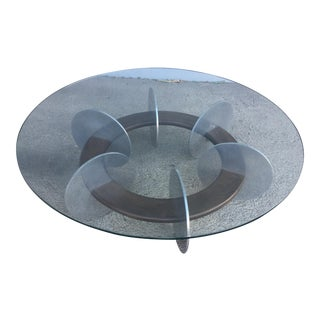 Knut Hesterberg Inspired Round Walnut and Stainless Steel Coffee Table For Sale