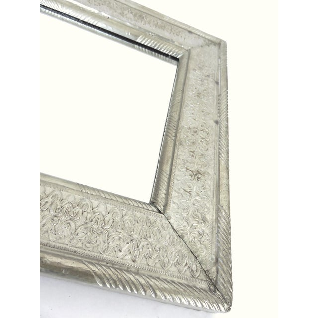 1980s Vintage Indian Hammered Silver Rectangular Patterned Wall Mirror For Sale - Image 5 of 6