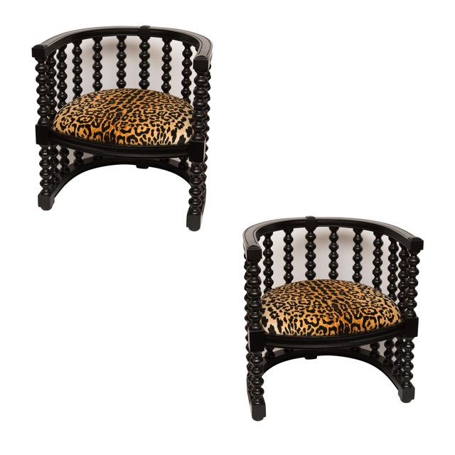 Spindle Back Barrel Faux Leopard Chairs - Pair - Image 1 of 8