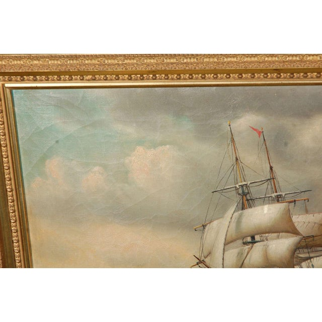 Canvas 19th Century Signed American Oil Painting of a Ship at Sea For Sale - Image 7 of 10