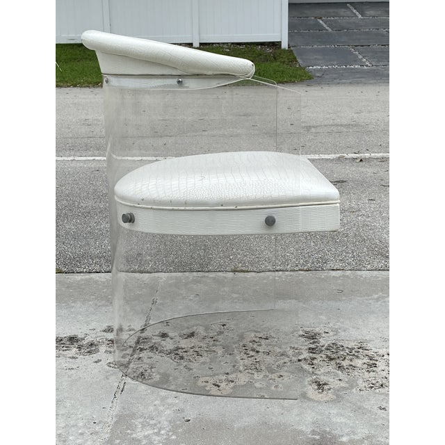 Transparent Lucite Barrel Back Chairs - Set of 4 For Sale - Image 8 of 13