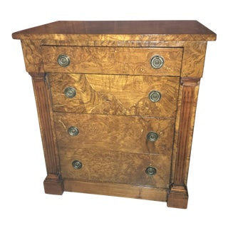 Italian Walnut Burl Empire Oyster Dresser Side Table For Sale