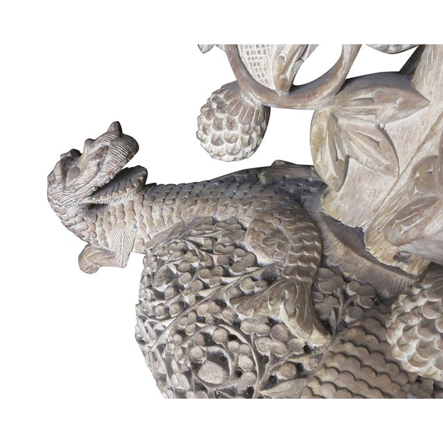 Large Hand-Carved Burmese Dragon Pedestal Planter For Sale In Los Angeles - Image 6 of 10