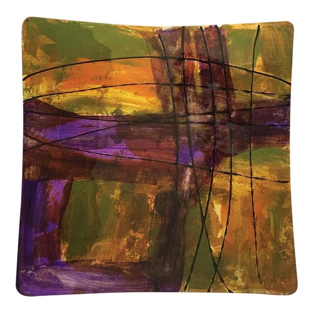 Purple, Green & Yellow Hand-Blown Plate - Image 1 of 4