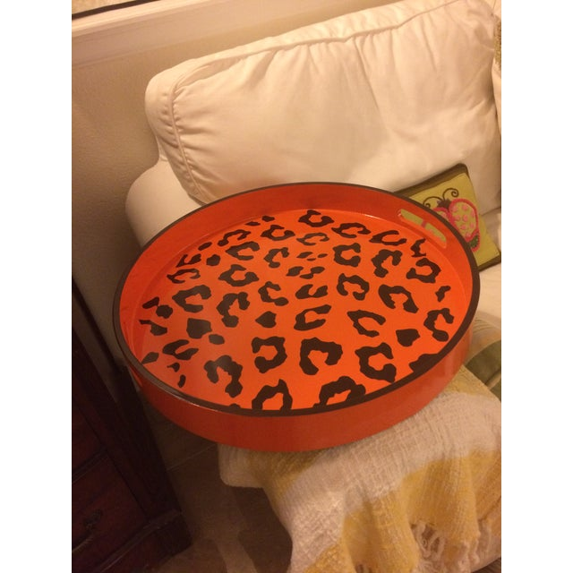 Round Hermès Inspired Orange & Brown Leopard Tray For Sale - Image 4 of 9
