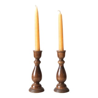 Vintage Wooden Candlestick Holders Pair For Sale