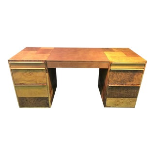 Paul Evans Patchwork Burled Wood & Leather Desk
