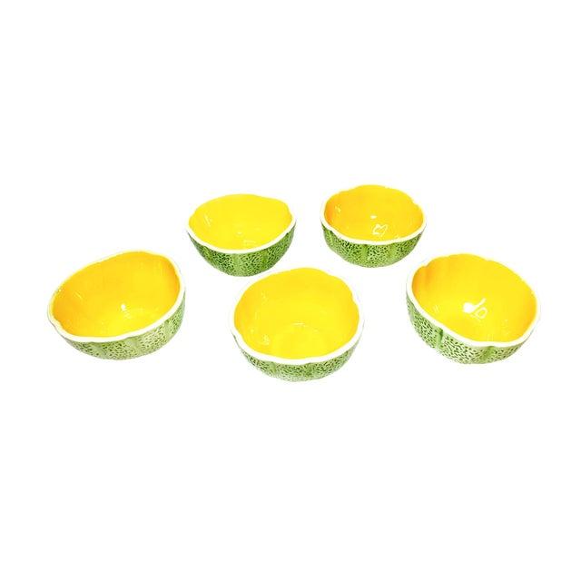 1960s Vintage Mid Century Cantaloupe Ceramic Bowls - Set of 5 For Sale