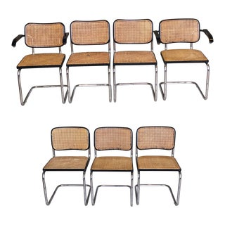 1950s Marcel Breuer for Knoll Authentic Ebonized Beech Cesca Cane Chairs – Set of 7 For Sale