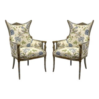 Pair of 1920s Carved Chinoiserie Wingback Chairs For Sale