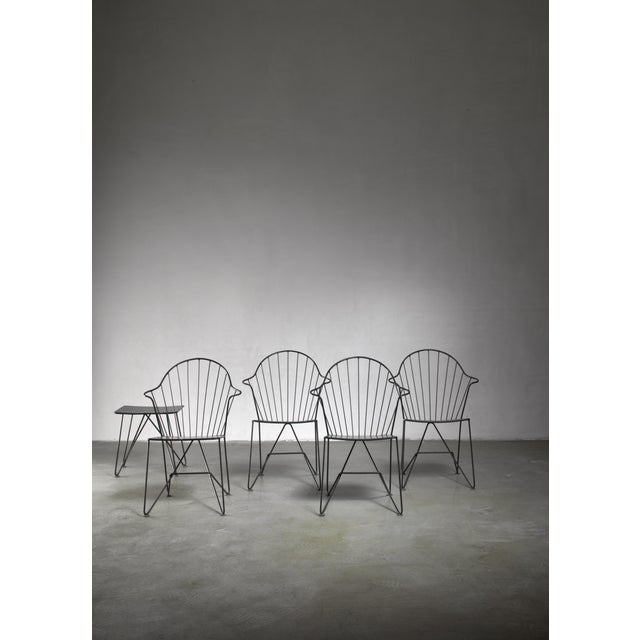 Mid-Century Modern Mannhardt-Stahlmöbel Set of Four Chairs and a Table, Germany, 1950s For Sale - Image 3 of 6