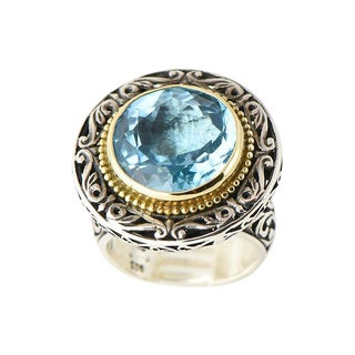 Konstantino Bue Topaz 18k Gold & Sterling Silver Ring For Sale