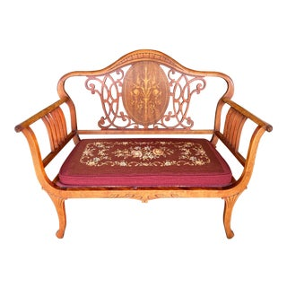Early 20th Century Edwardian Bench + Needlepoint Cushion For Sale