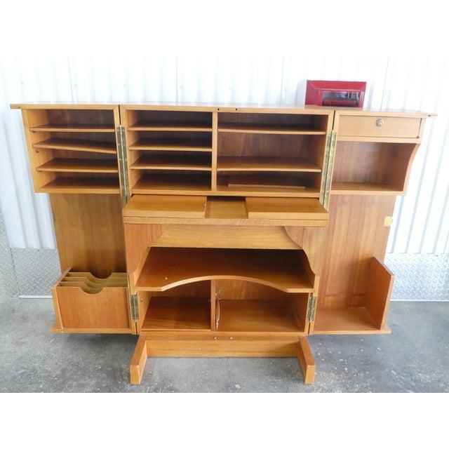 Mid-Century Modern 1970's Danish Modern Teak Secretary Desk For Sale - Image 3 of 11