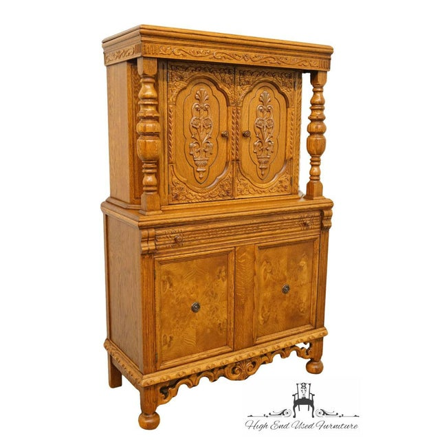 Gothic 1920's Antique Jacobean Gothic Revival Solid Oak Cupboard For Sale - Image 3 of 13