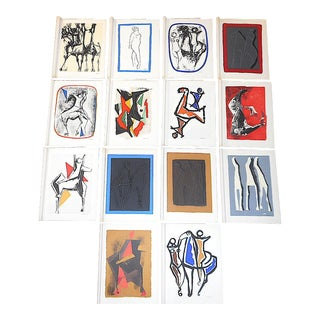 Vintage Mid 20th C. Ltd. Ed. Signed Silkscreen Prints-Abstract Images-Marino Marini-Set of 14 For Sale