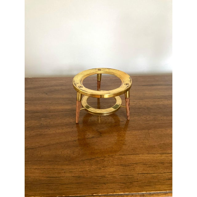 Cool brass and wood mid-century modern fondue pot holder. Super cool as a plant stand!