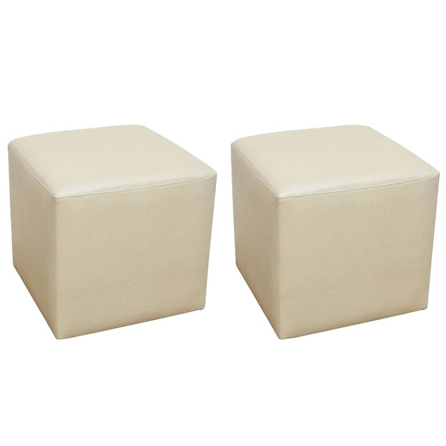 Ottomans in Faux Shagreen - Pair For Sale