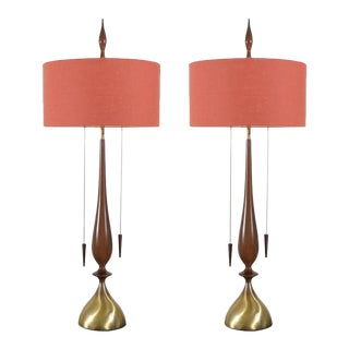 Monumental Pair of Walnut and Brass Lamps by Frederick Cooper For Sale