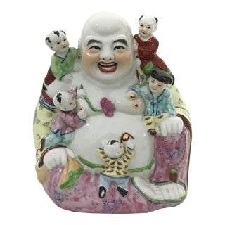 Mid Century Porcelain Laughing Buddha Statue For Sale