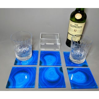 Blue Acrylic Agate Coasters With Translucent Holder - Set of 6 Preview