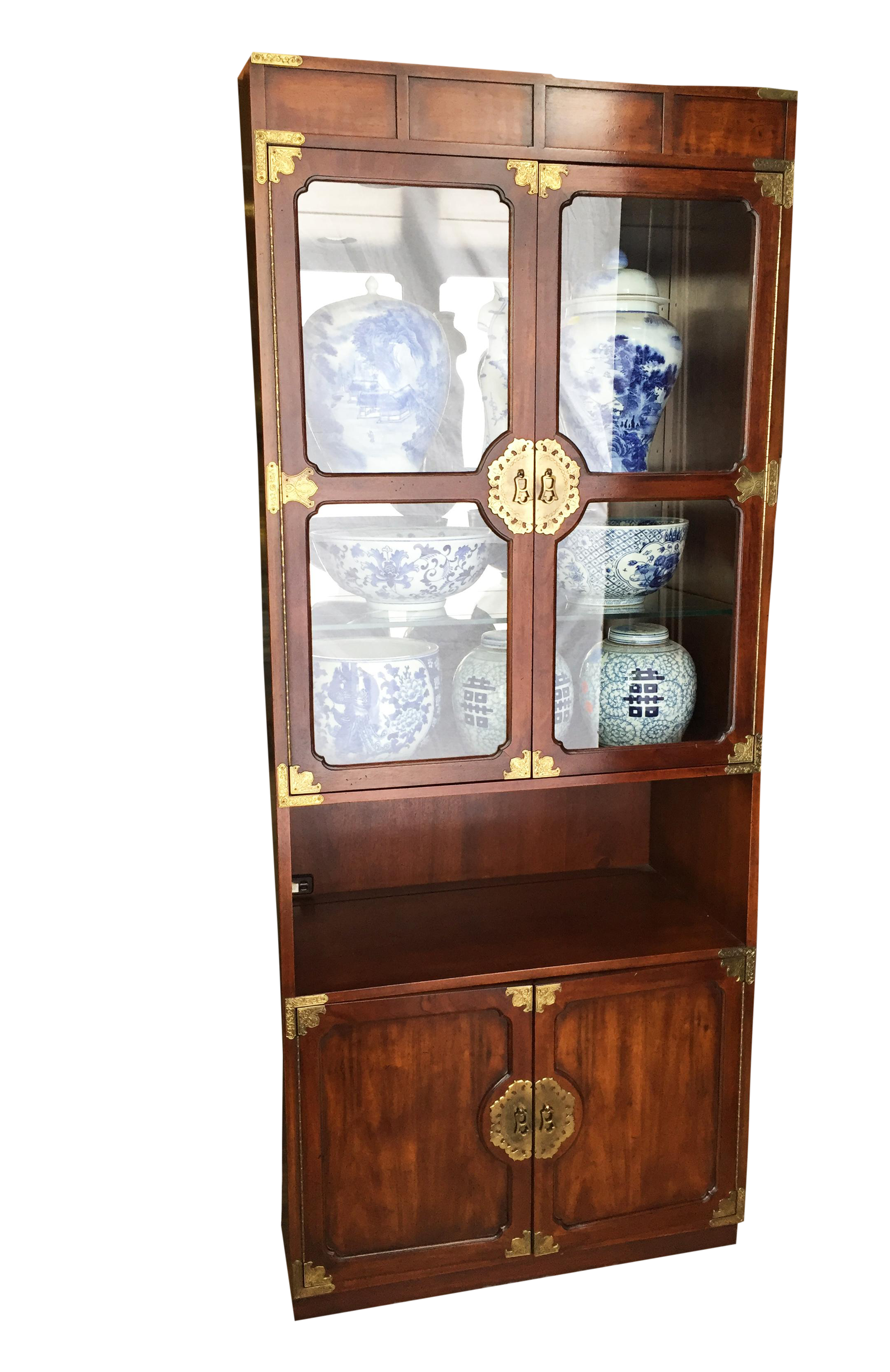 Solid Wood/ Glass Display Cabinet With Mirror And Lighting