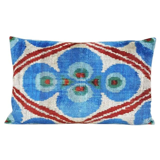 Custom Silk Velvet Ikat Accent Pillow - Image 1 of 2