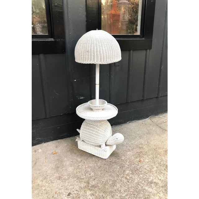 1960s White Wicker Turtle Floor Lamp For Sale - Image 10 of 11