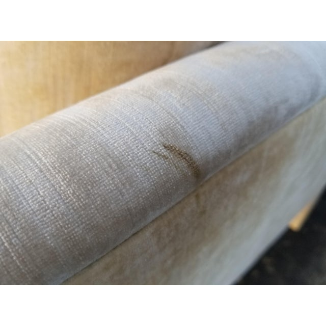 Custom Cream Textured Velvet Chaise With Fabric Covered Legs For Sale - Image 9 of 10