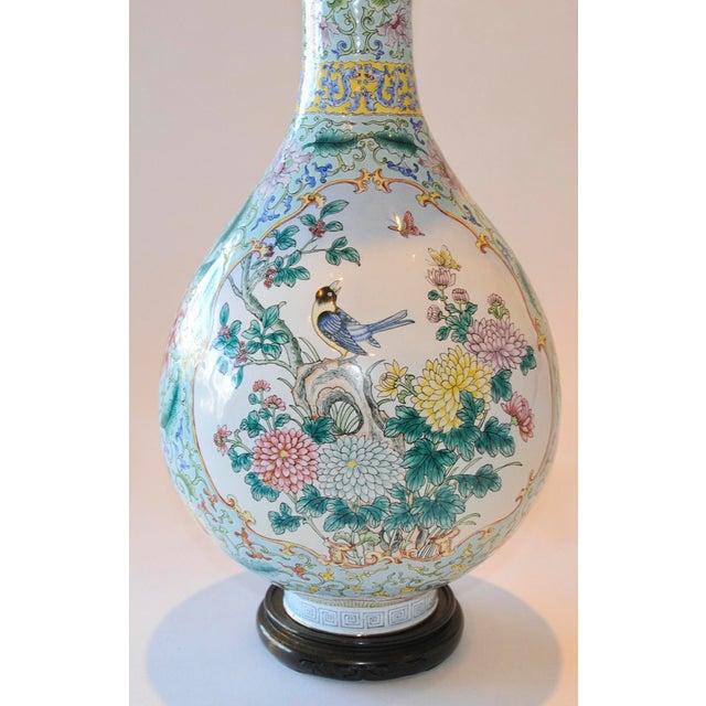 Green Vintage Chinese Enamel Vase, Flora & Fauna Details For Sale - Image 8 of 11