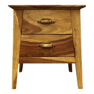 Antique Wooden 2-Drawer Bedside Nightstand