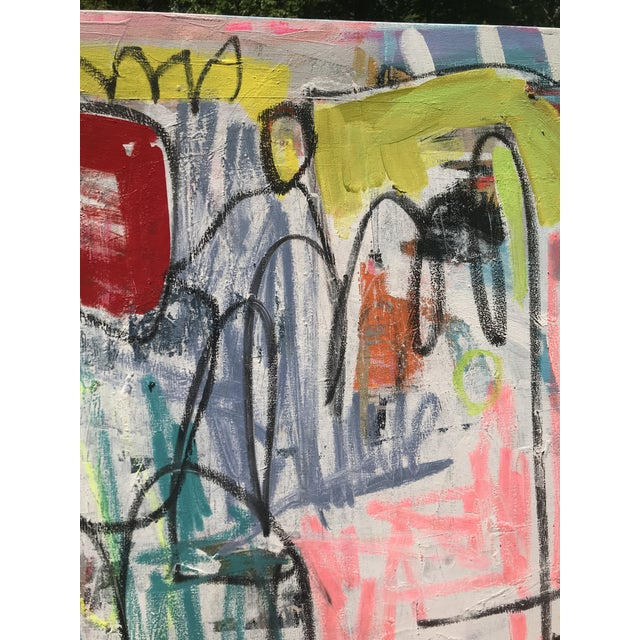 "Canvas ""Takes Village"" Contemporary Abstract Painting For Sale - Image 7 of 8"