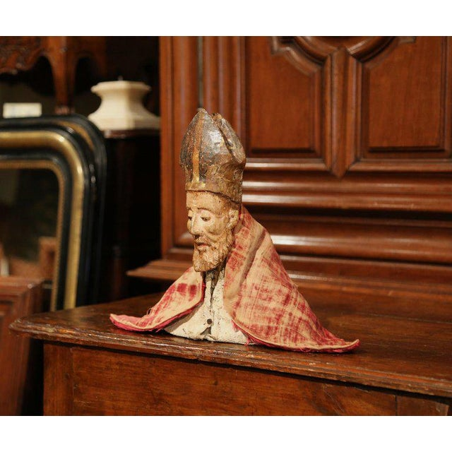 Make a statement on your mantel, enfilade or tabletop with this antique Haute Époque carved bishop figure. Created in...