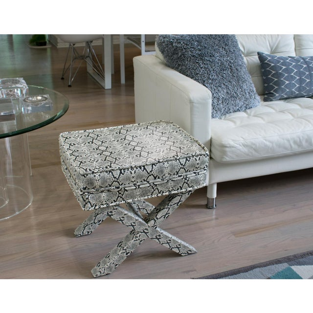 Contemporary Billy Baldwin Style Python Leather X-Bench Ottoman Footstool For Sale - Image 3 of 13