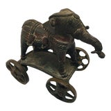 Image of Late 19th Century Antique Cast Bronze Temple Toy Elephant on Wheels For Sale