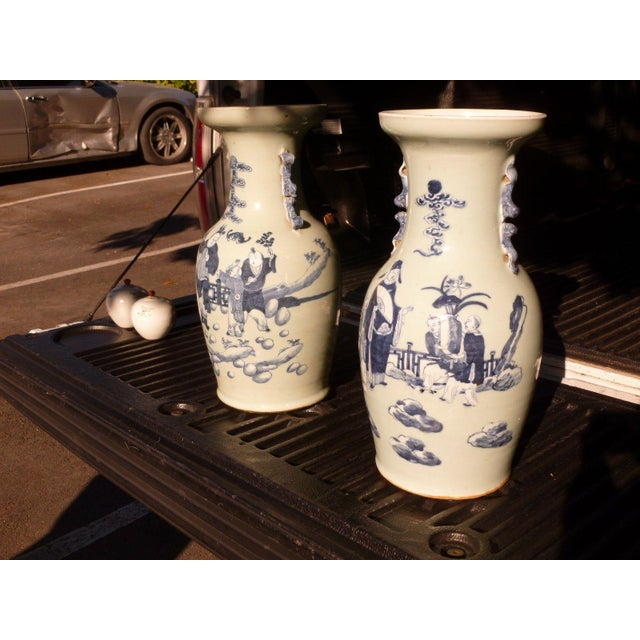 Mid 19th Century 19th Century Qing Chinese Blue & White on Celadon Ground Vases - a Pair For Sale - Image 5 of 13