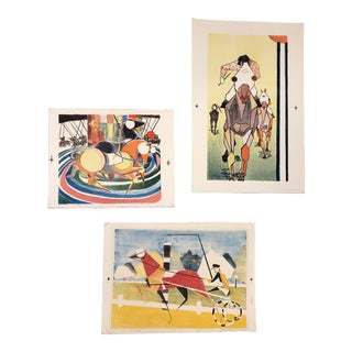 Gallery Wall Collection 3 Original Abstract Cubist Horse Lithographs Vintage For Sale