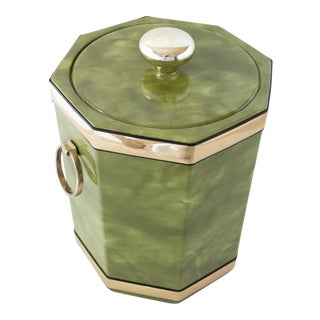 1960s Vintage Kraftware Green Vinyl Ice Bucket For Sale