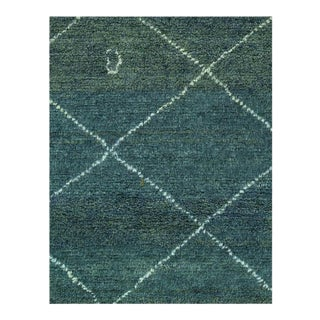 "Moroccan Green Hand Knotted Rug-4'8'' X 5'11"" For Sale"